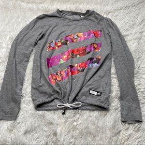 Adidas Gray Climalite Top with Drawstring - Small